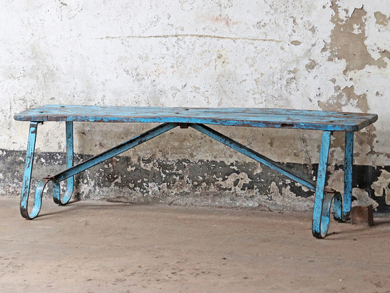 Vintage Iron And Teak Bench Medium