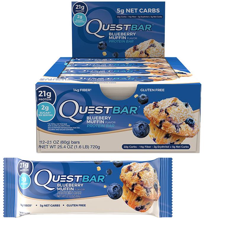 "Hel Låda Proteinbars ""Blueberry Muffin"" 12 x 60g - 47% rabatt"