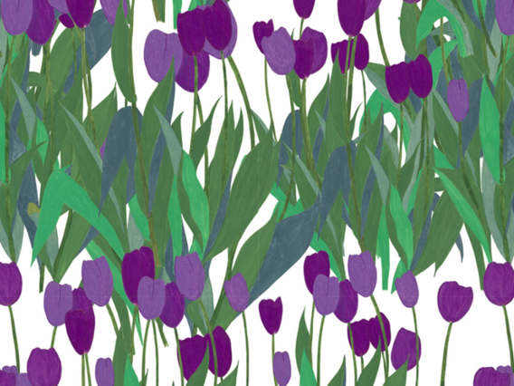 In Bloom Wallpaper Sample: Thistle Purple-IB1902TPS