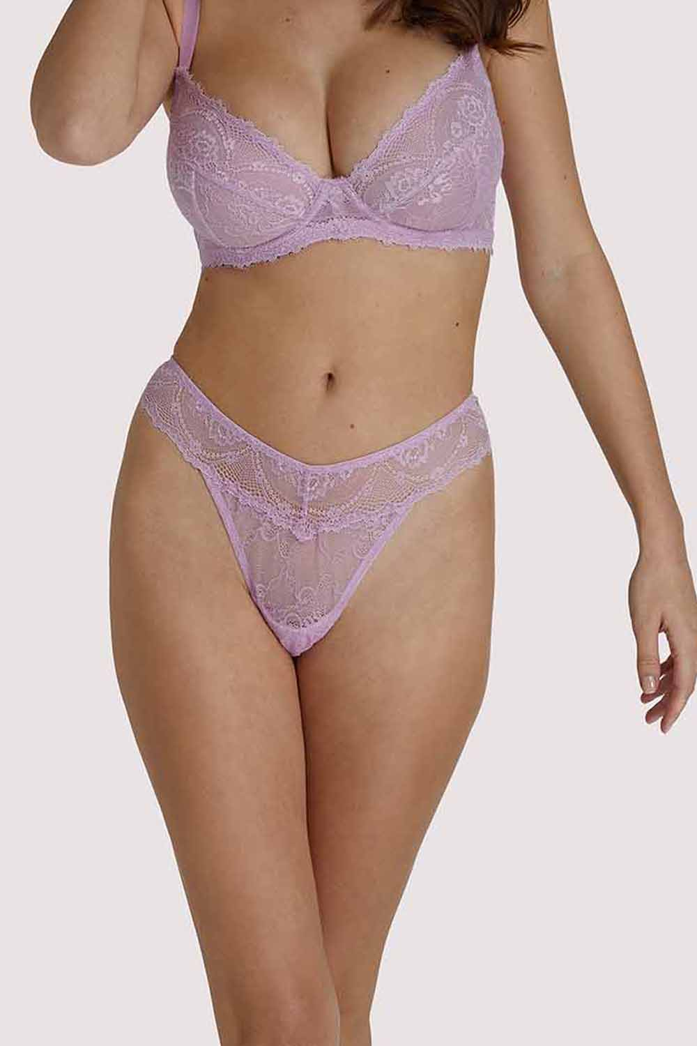 Wolf & Whistle Ariana Lilac Everyday Lace Thong UK 8 / US 4