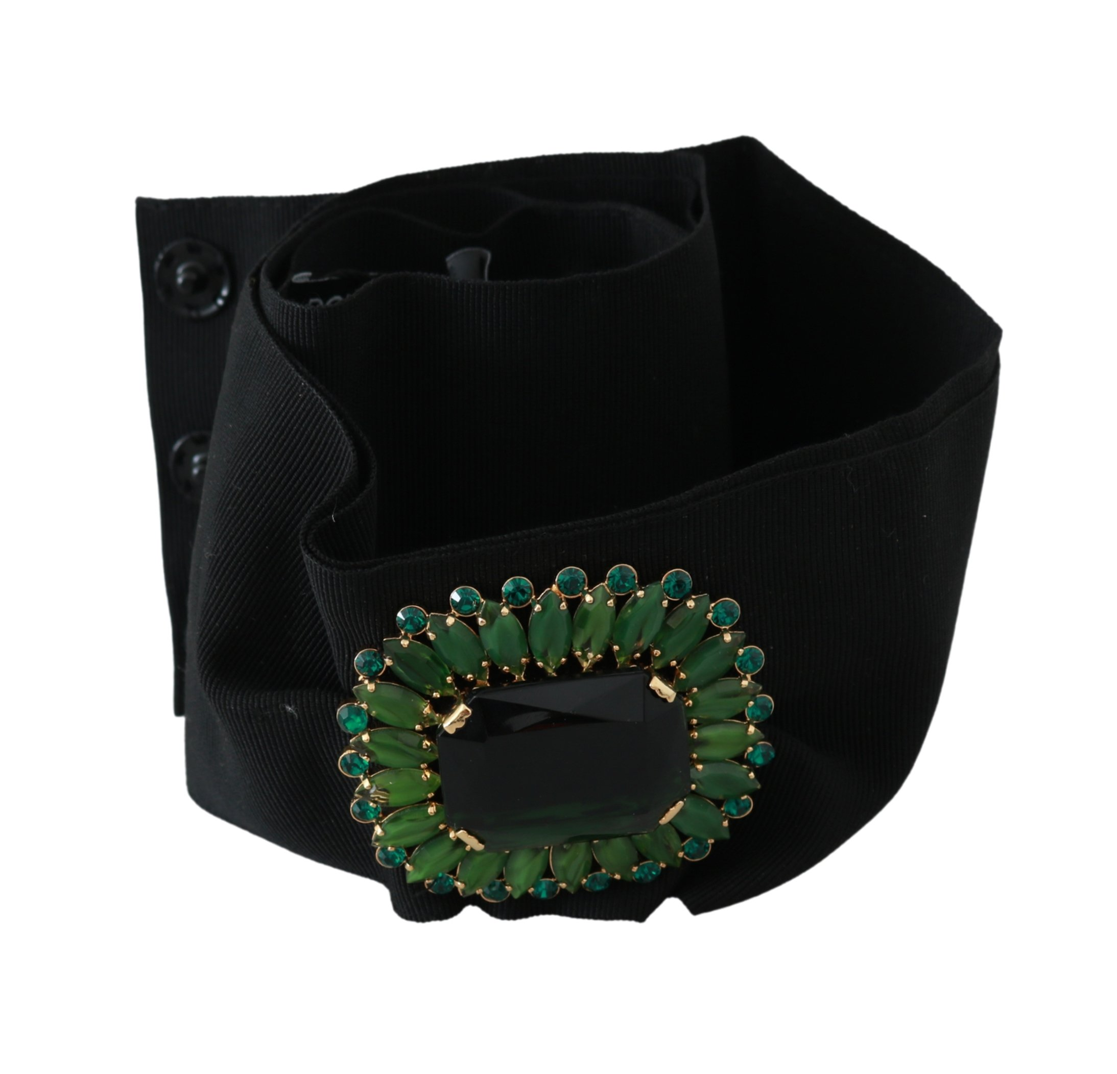 Dolce & Gabbana Women's Stretch Crystal Wide Waist Belt Black BEL60545 - 100 cm / 40 Inches