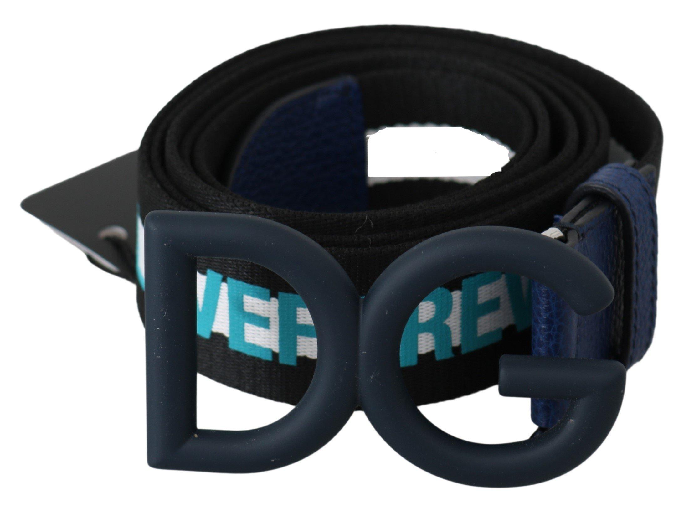 Dolce & Gabbana Men's Textile DG Logo Buckle Belt Blue BEL60499 - 100 cm / 40 Inches