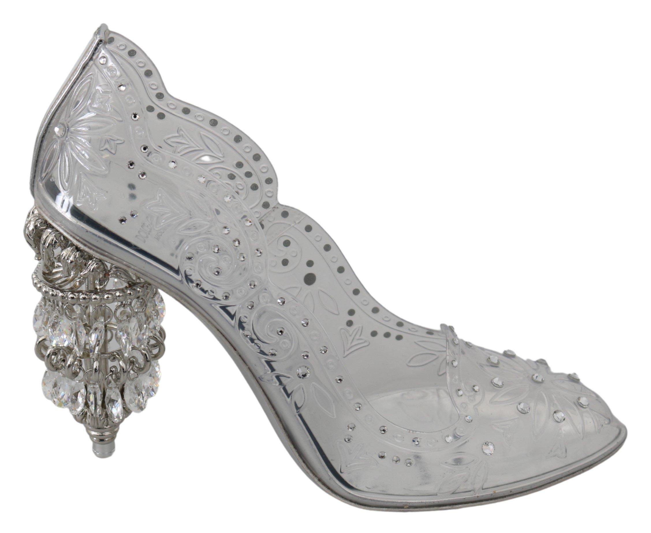 Dolce & Gabbana Women's Crystal CINDERELLA Pumps Transparent LA7279 - EU39/US8.5