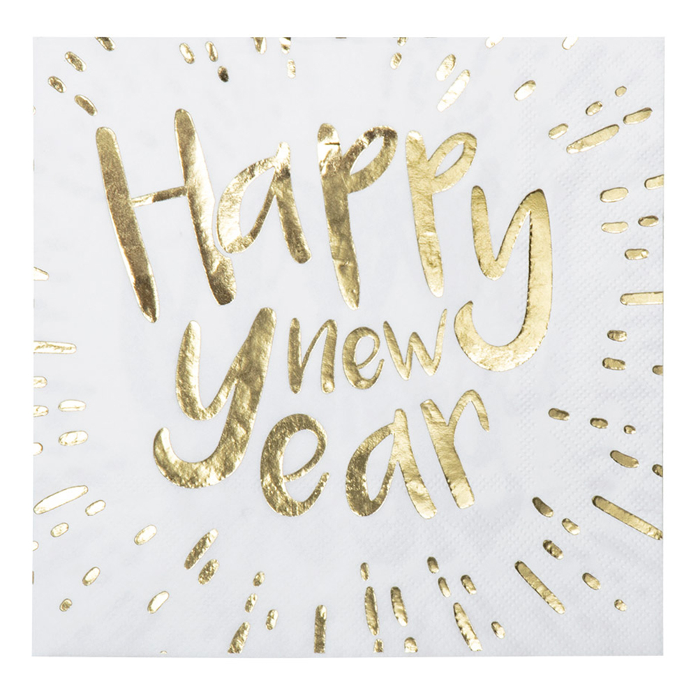 Servetter Happy New Year Guldmetallic - 12-pack