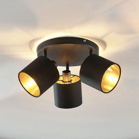 Stoff- taklampe Vasilia i svart-gull, 3 lyskilder