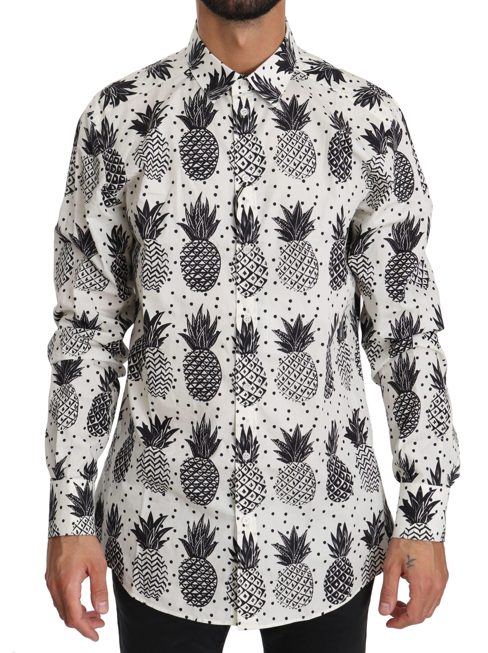Dolce & Gabbana Men's Pineapple Cotton Shirt White TSH4007 - IT37   XS