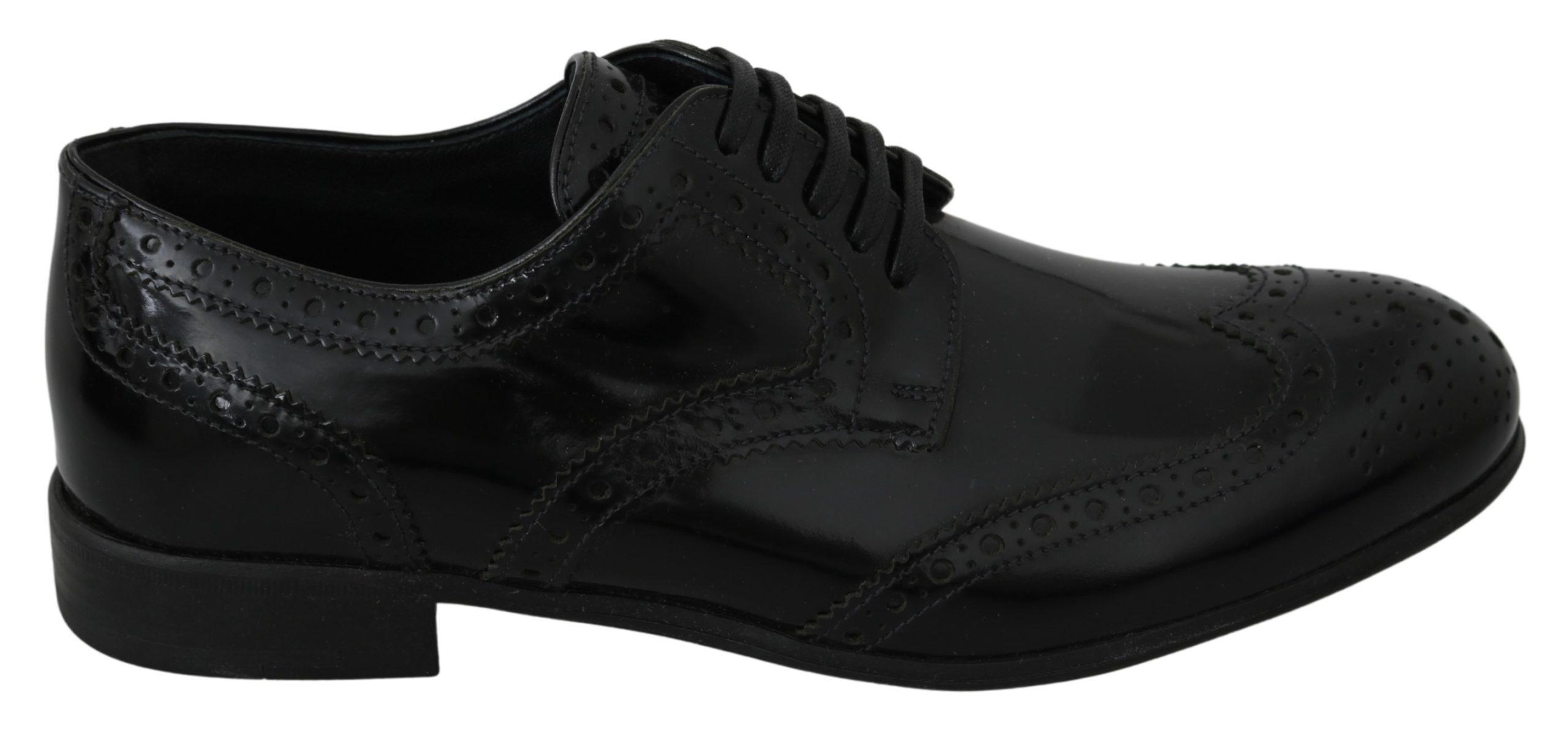 Dolce & Gabbana Women's Leather Formal Brogues Shoe Black LA7074 - EU37/US6.5