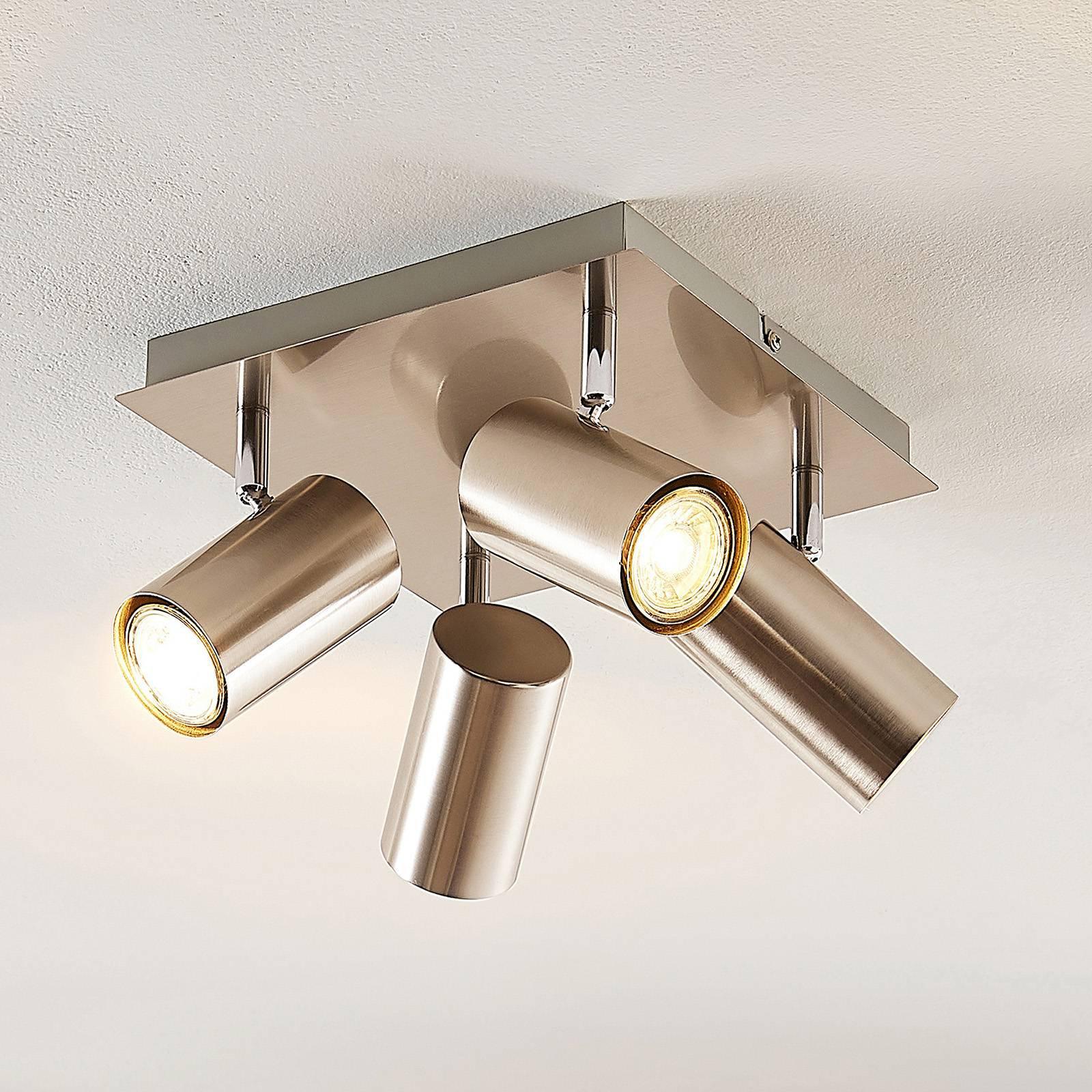 Lindby Joffrey taklampe, 4 lyskilder, nikkel