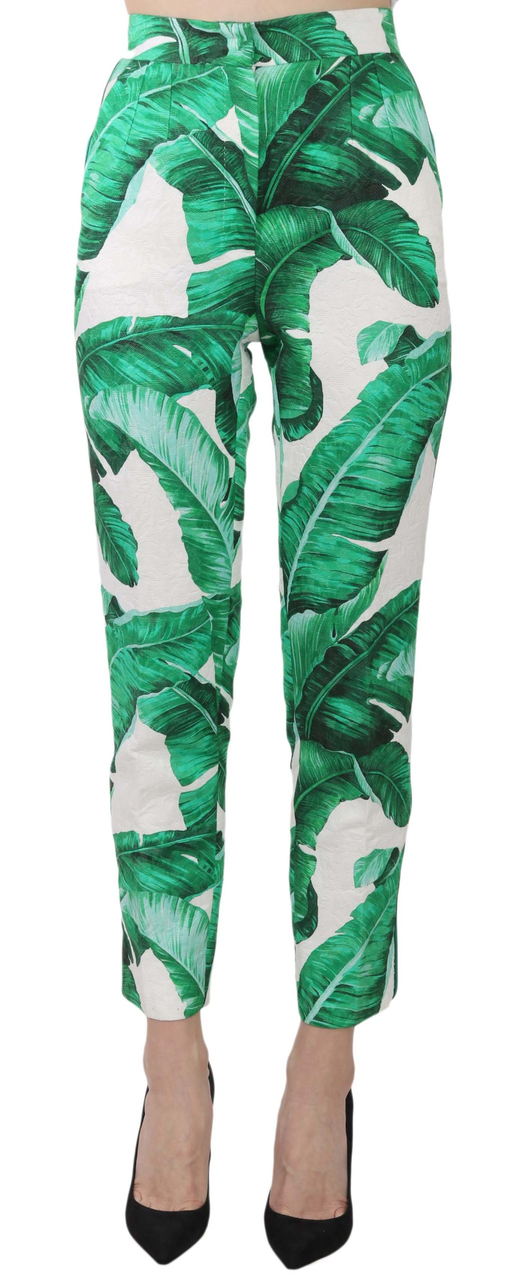 Dolce & Gabbana Women Banana Leaf Print Jaquard Trouser Slim Pants Green PAN61207 - IT38|XS
