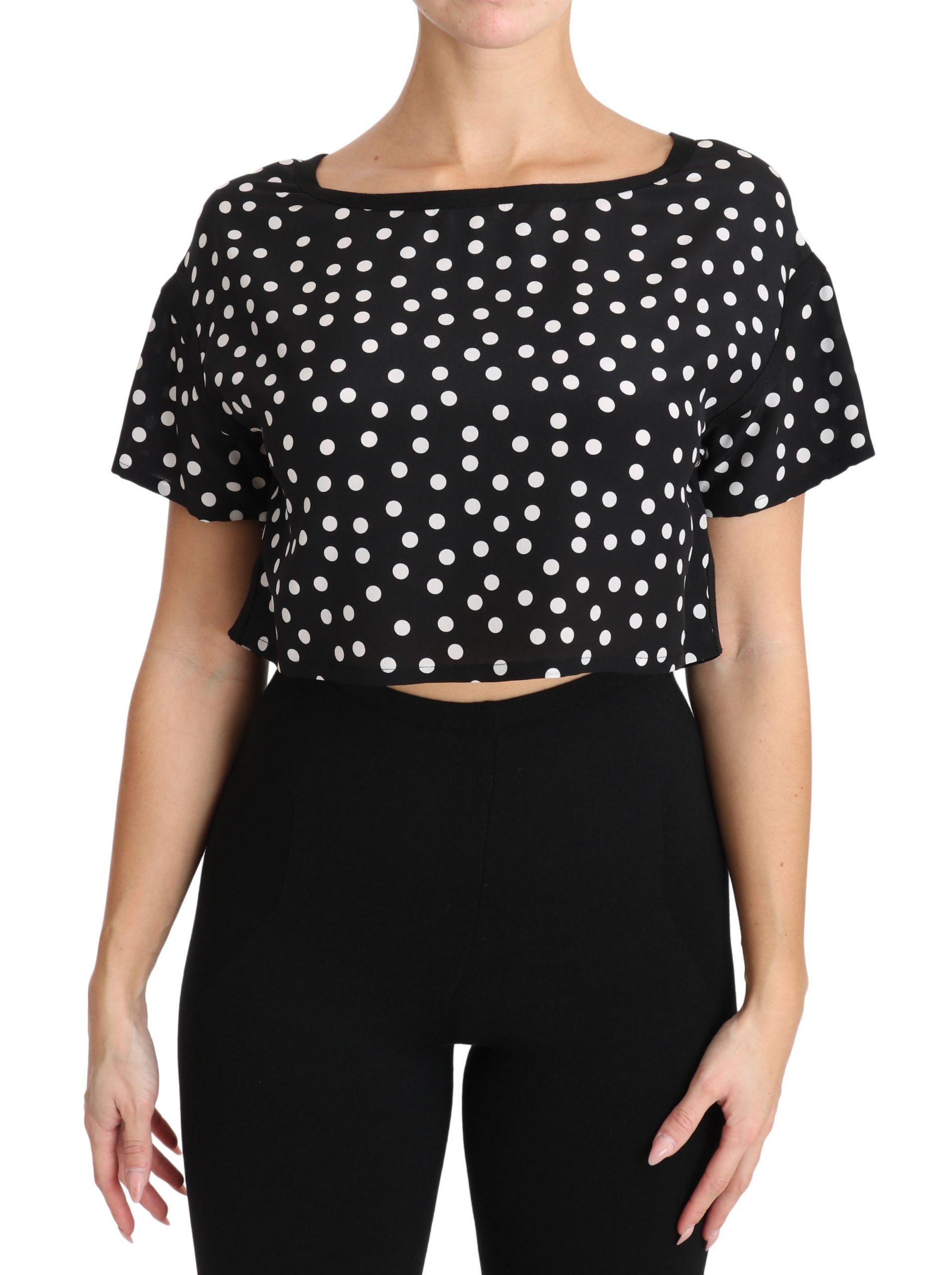 Dolce & Gabbana Women's Polka Dotted Cropped Top Black TSH3139 - IT38|XS