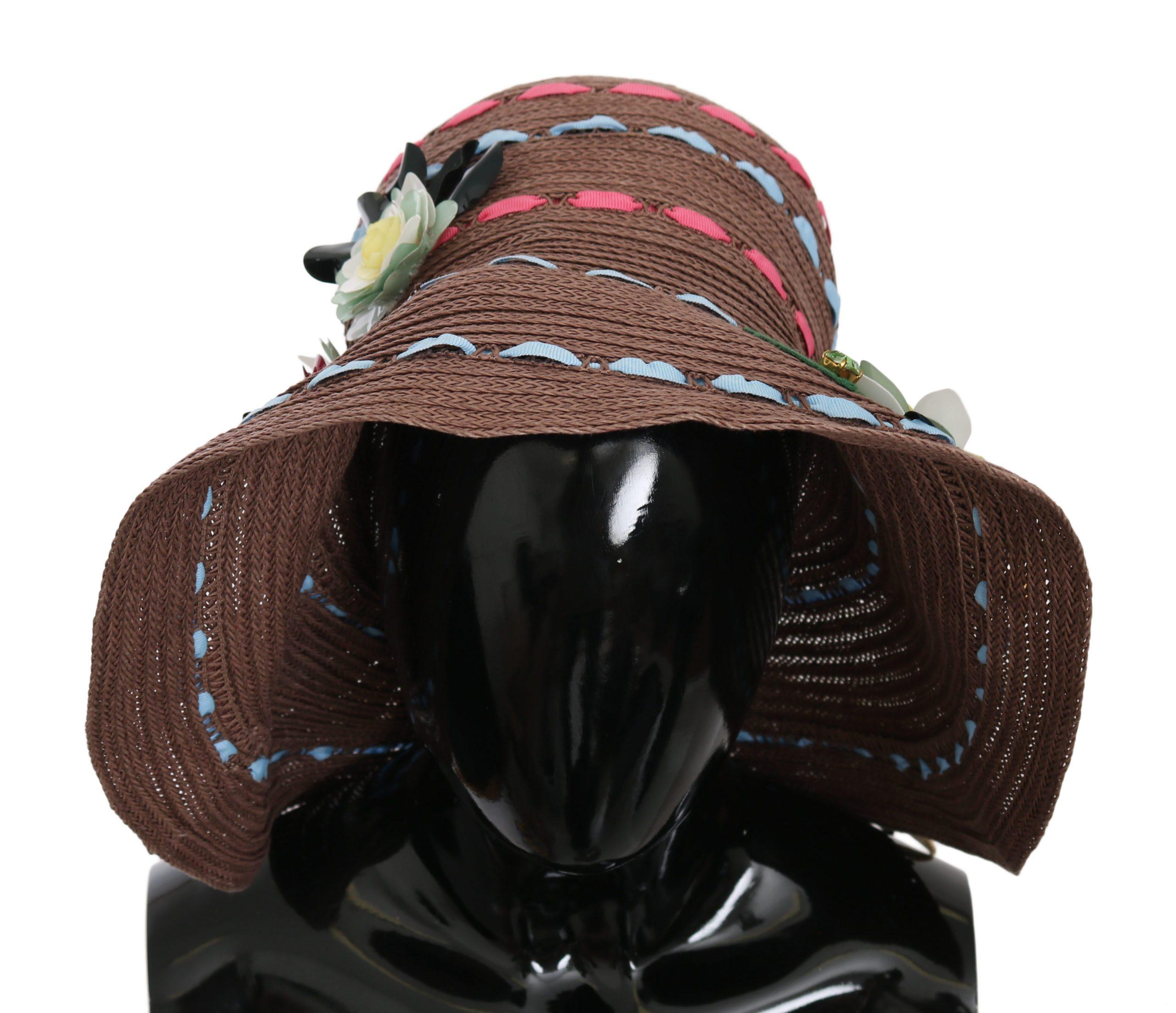 Dolce & Gabbana Women's Wide Brim Floral Floppy Capello Hat Brown HAT70226 - 57 cm|S