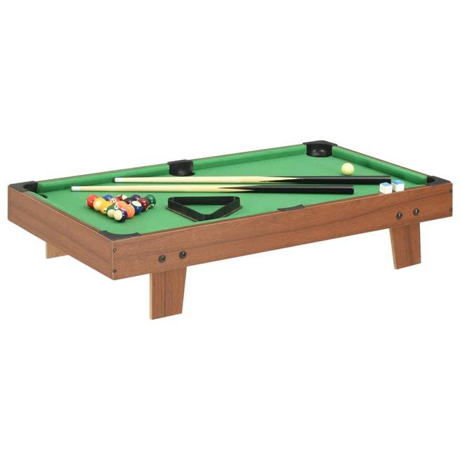 vidaXL Biljardbord mini 3 feet 92x52x19 cm brun och grön