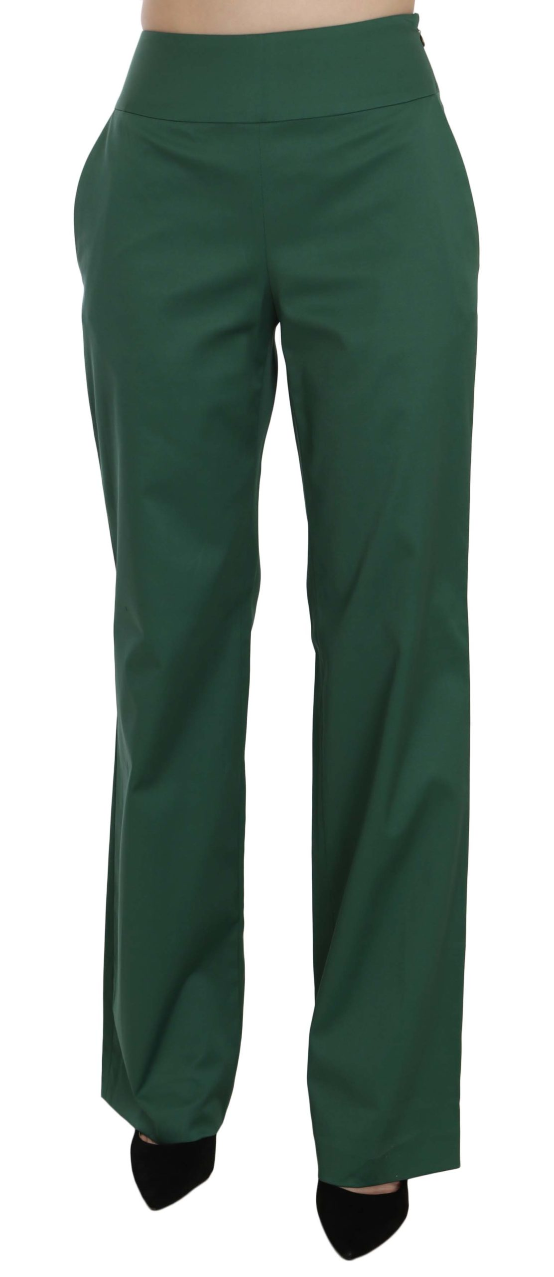 Just Cavalli Women's High Waist Straight Formal Trouser Green PAN70325 - IT38 XS