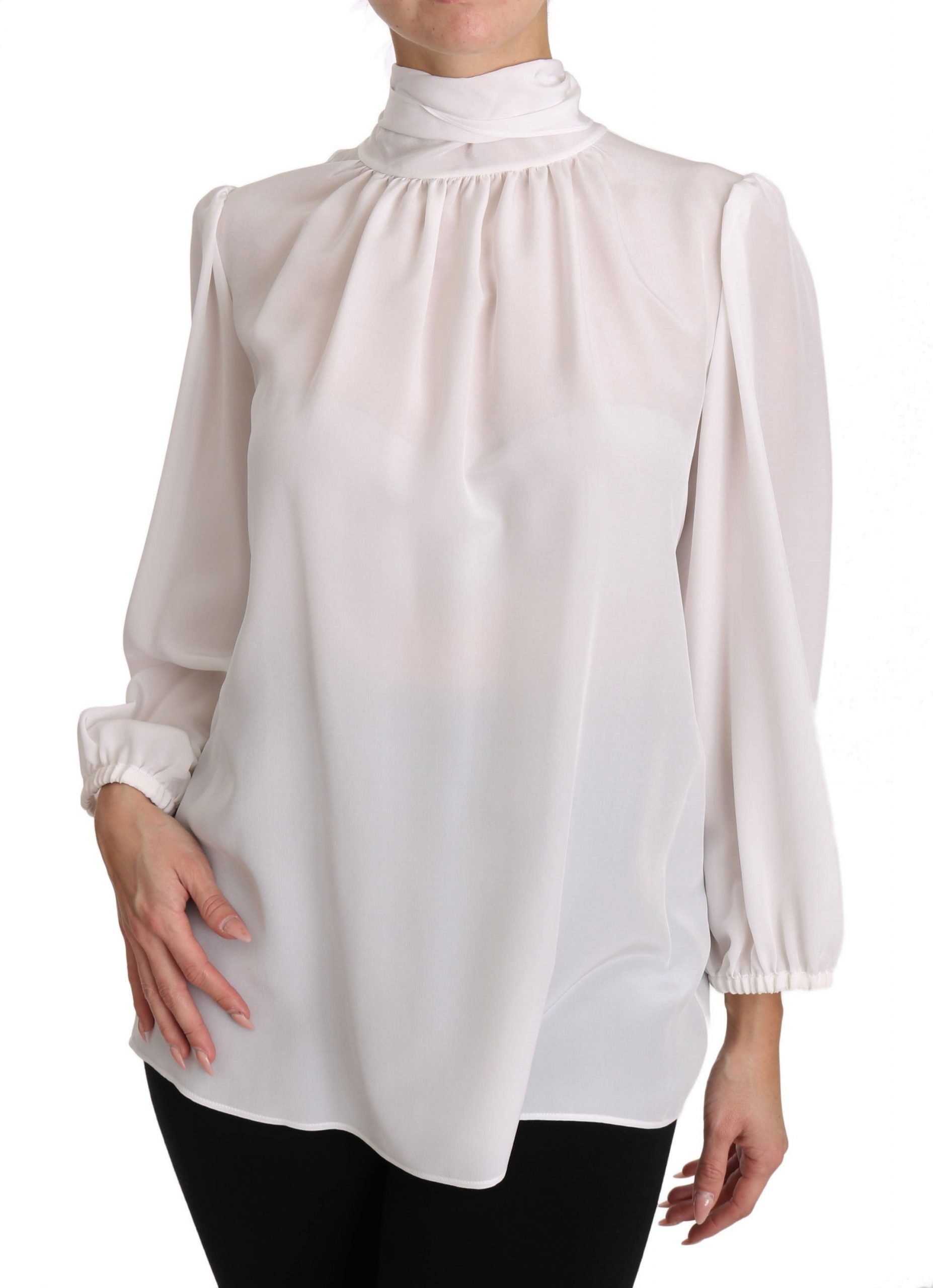 Dolce & Gabbana Women's Silk LS Tops White TSH3137 - IT40|S