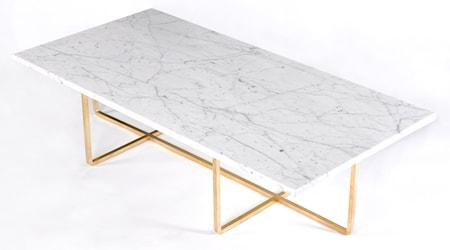 Ninety Table XL - Carrara marmor/mässingsstomme H30 cm