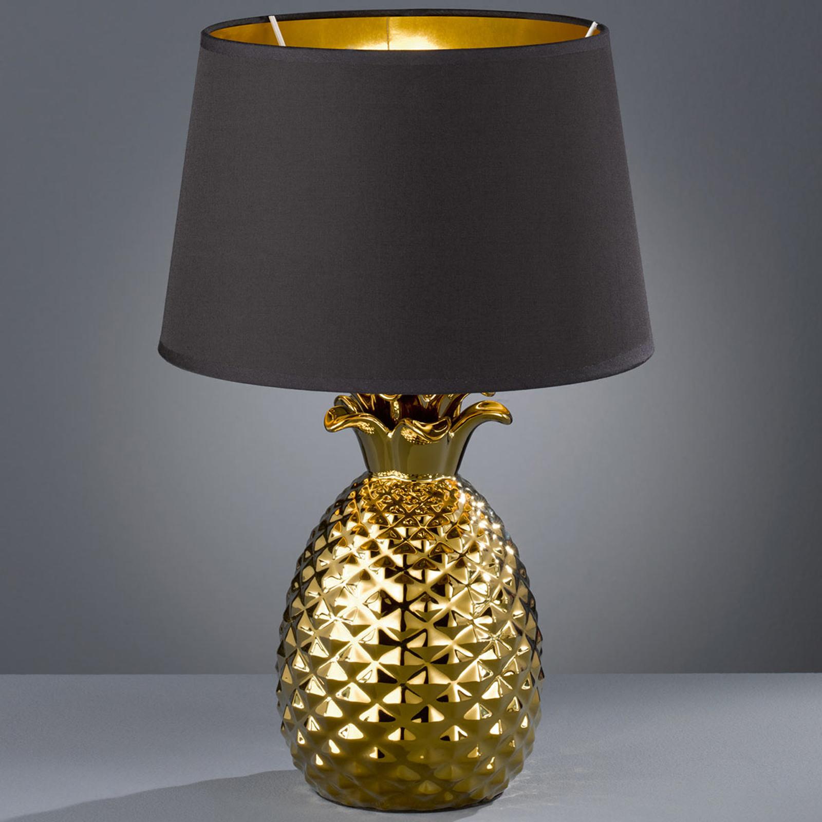 Kulta-musta tekstiili-pöytälamppu Pineapple, 45 cm
