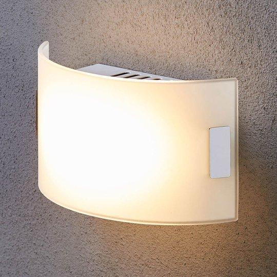 Valkoinen lasiseinävalaisin Gisela, LED-varustus