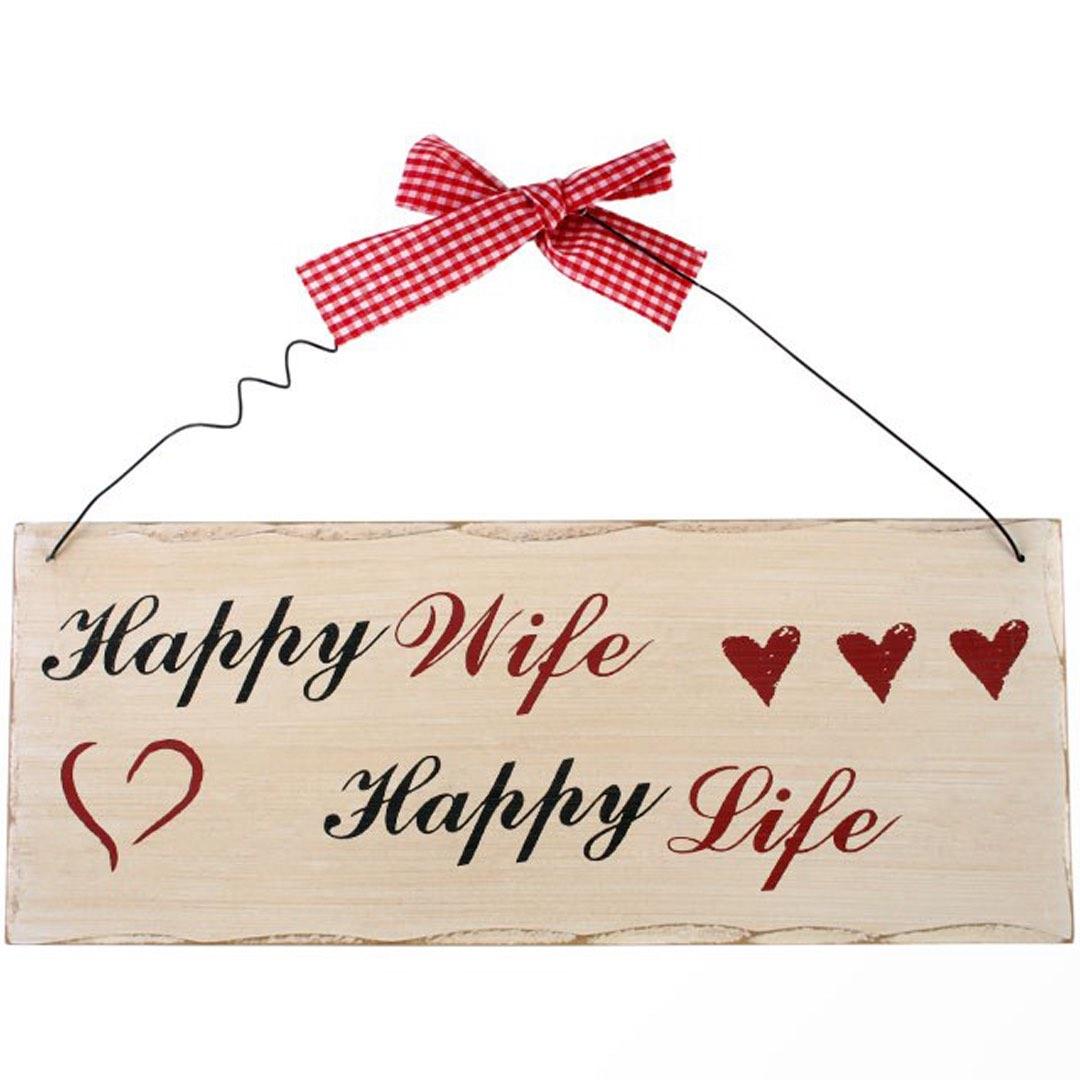 Träskylt - Happy wife, happy life