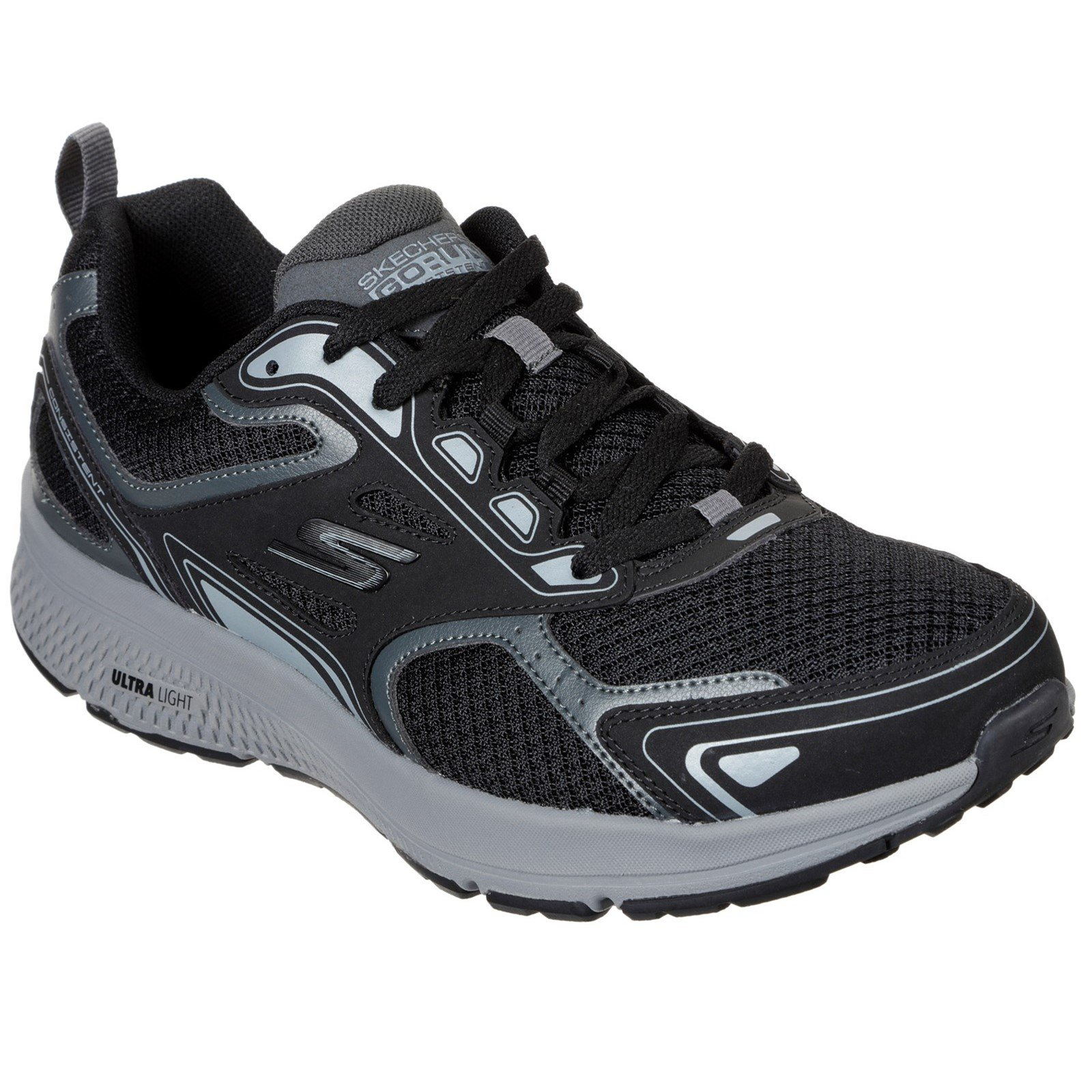 Skechers Men's Go Run Consistent Wide Trainer Multicolor 33072 - Black/Grey 8