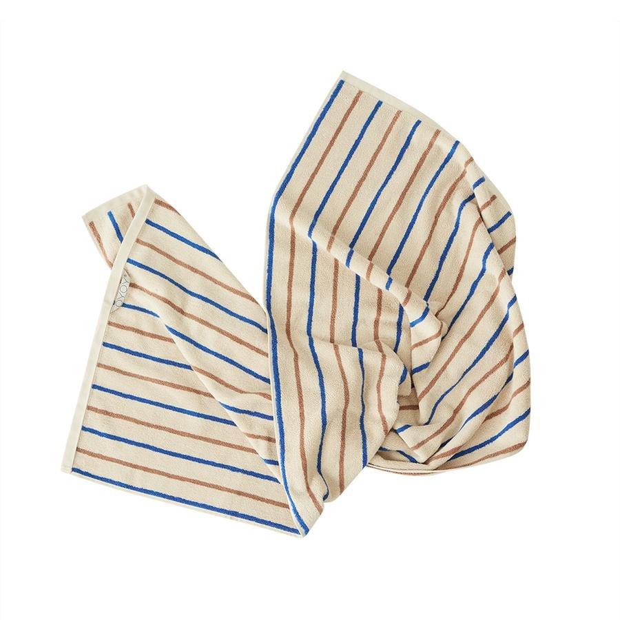 OYOY Living - Raita Organic Bath Towel - 70x140 cm - Caramel / Optic Blue