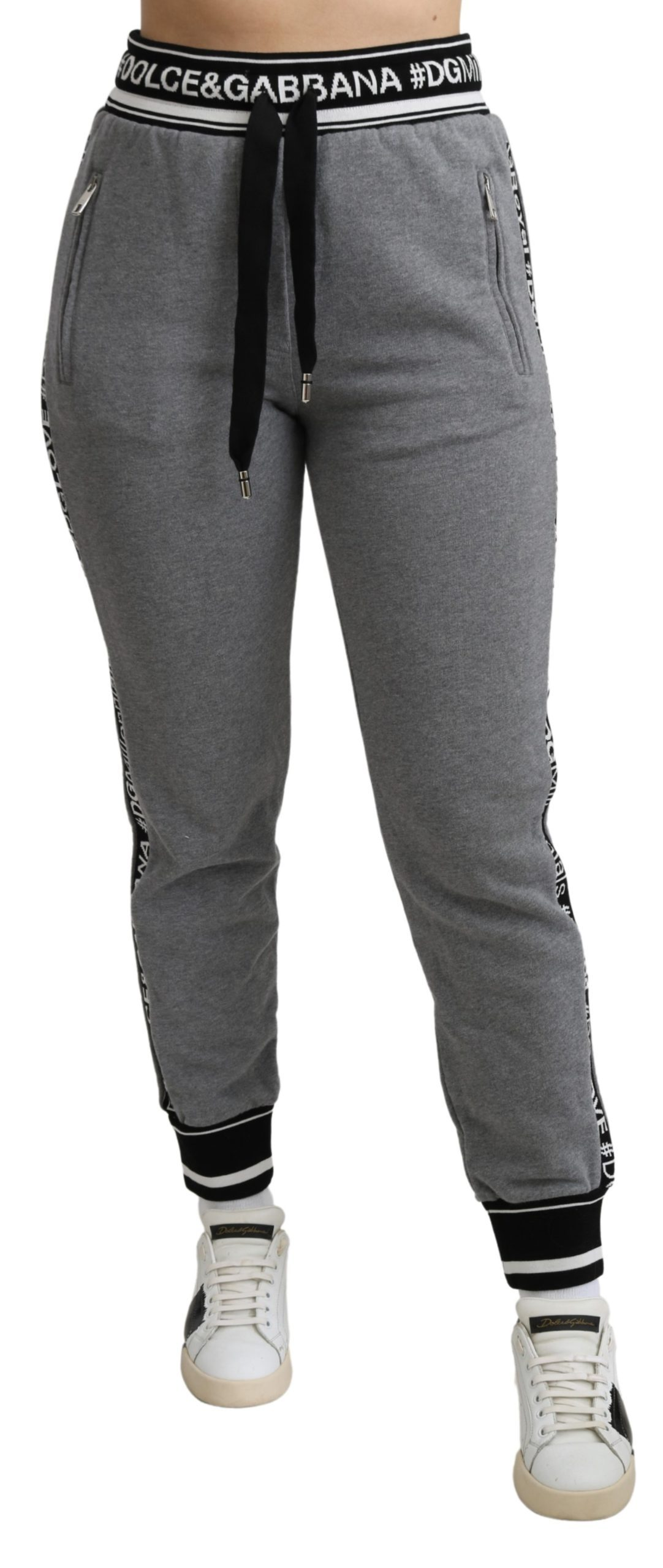 Dolce & Gabbana Womens Jogging Cotton Trouser Gray PAN71286 - IT42|M