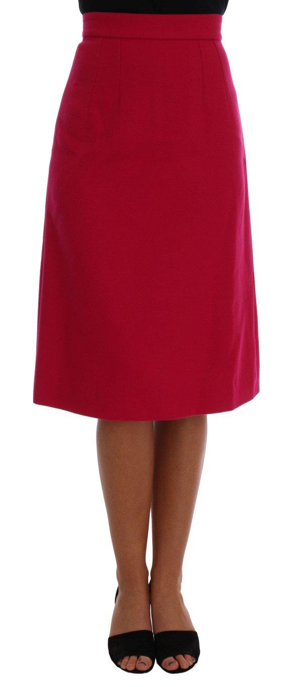 Dolce & Gabbana Women's Wool Knee Long A-Line Skirt Pink SKI1084 - IT36 | XS