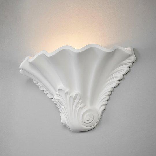 Relieffaktig gipsvegglampe Lennet i hvitt