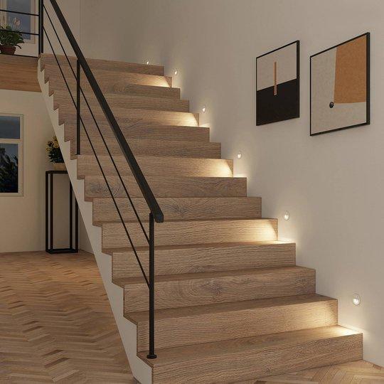 Prios Neru LED-downlight, sensor, rund, hvit