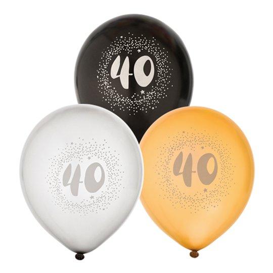 Ballonger Svart/Vit/Guld 40 - 6-pack