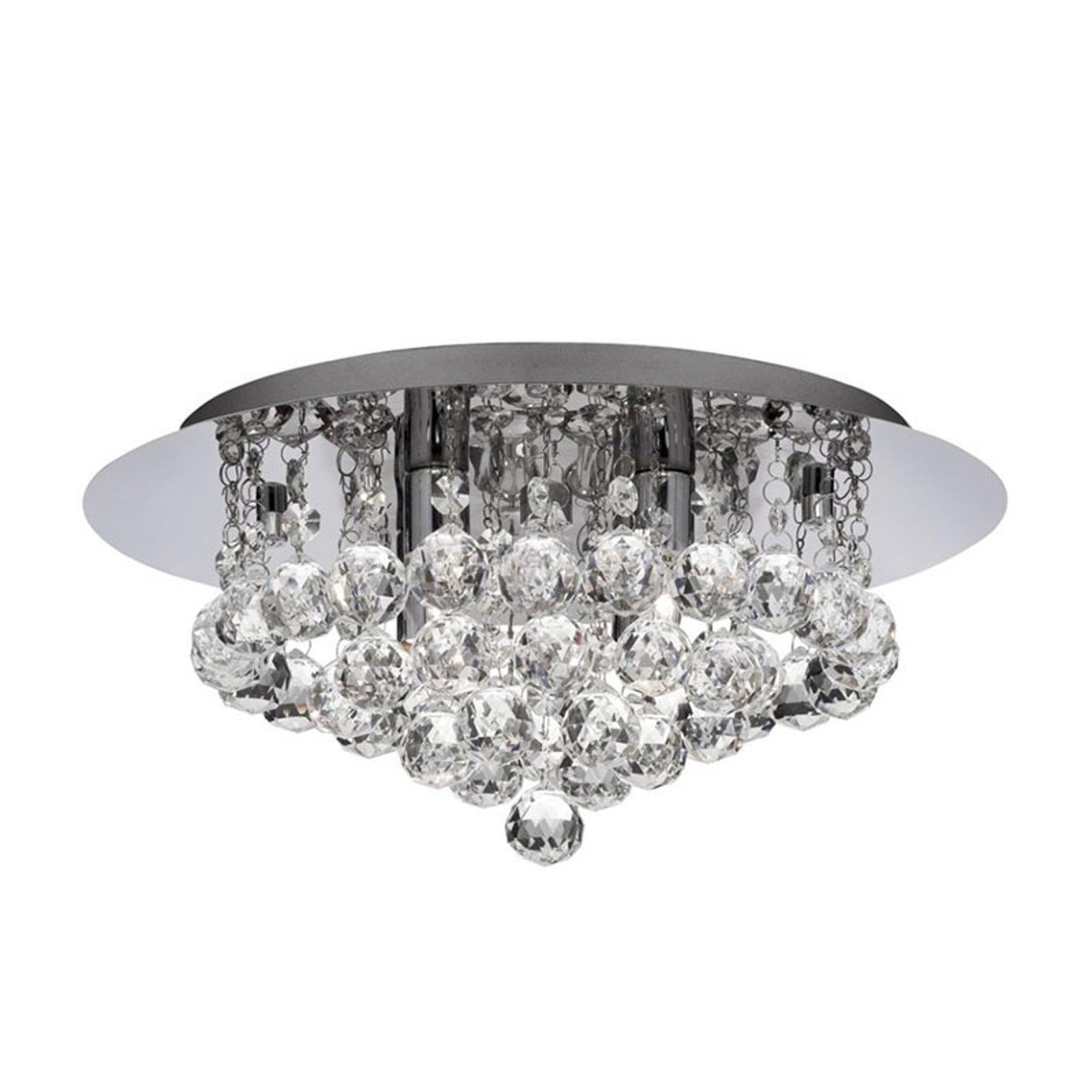 Taklampe Hanna krom med krystallkuller, 35 cm