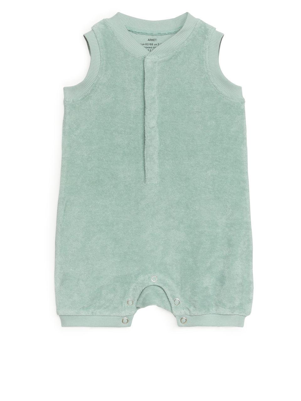 Sleeveless Towelling Romper - Turquoise