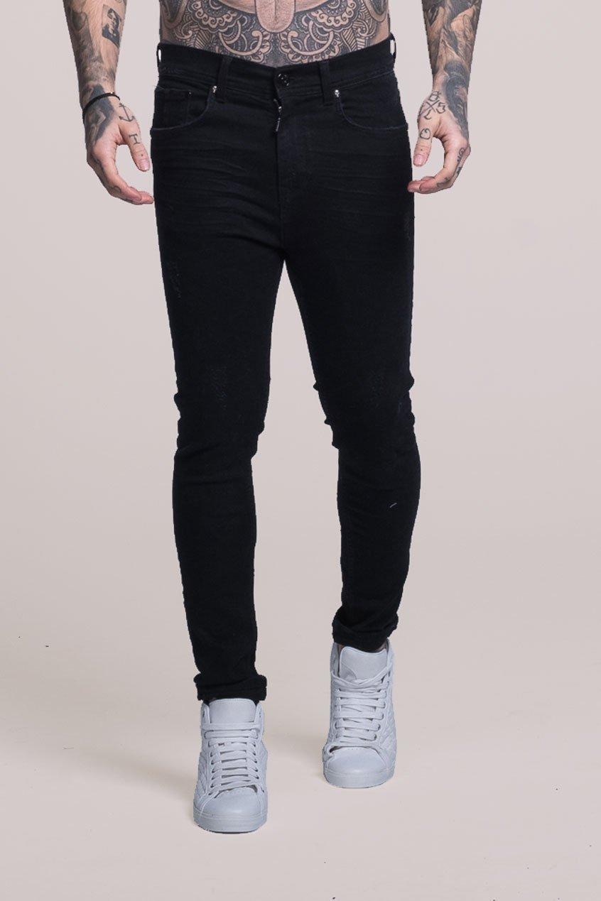 Johnny Skinny Stretch Fit Distressed Men's Jeans - Black, 32 inch waist