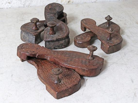 Original Ornate Wooden Slippers - Padukas Brown
