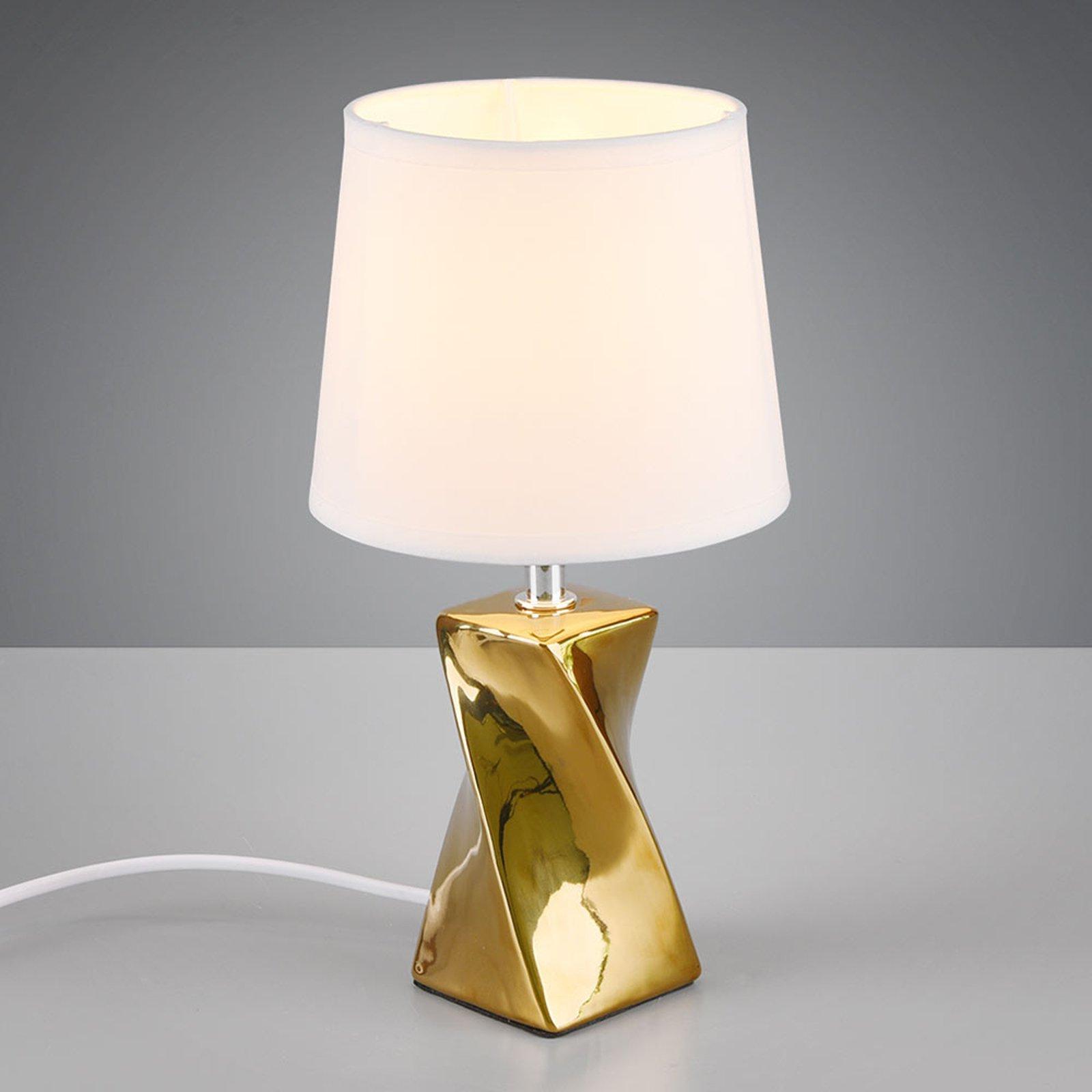 Bordlampe Abeba, Ø 15 cm, hvit-gull