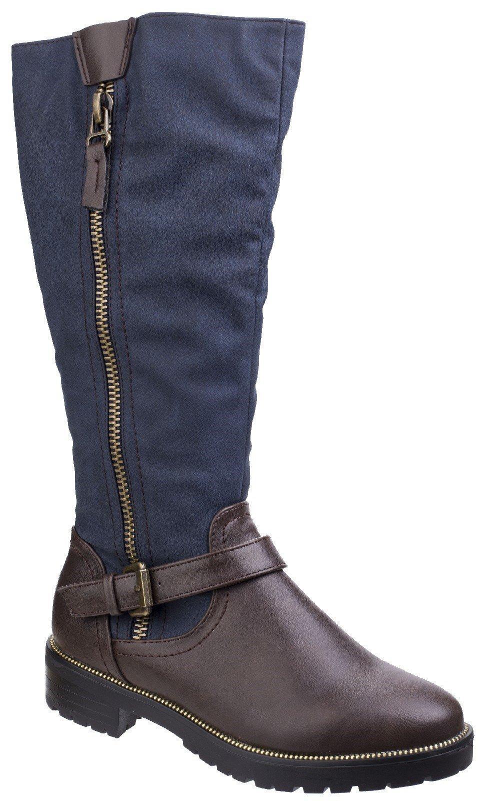 Divaz Women's Manson Tall Boot Brown 25567-42553 - Brown/Blue 3