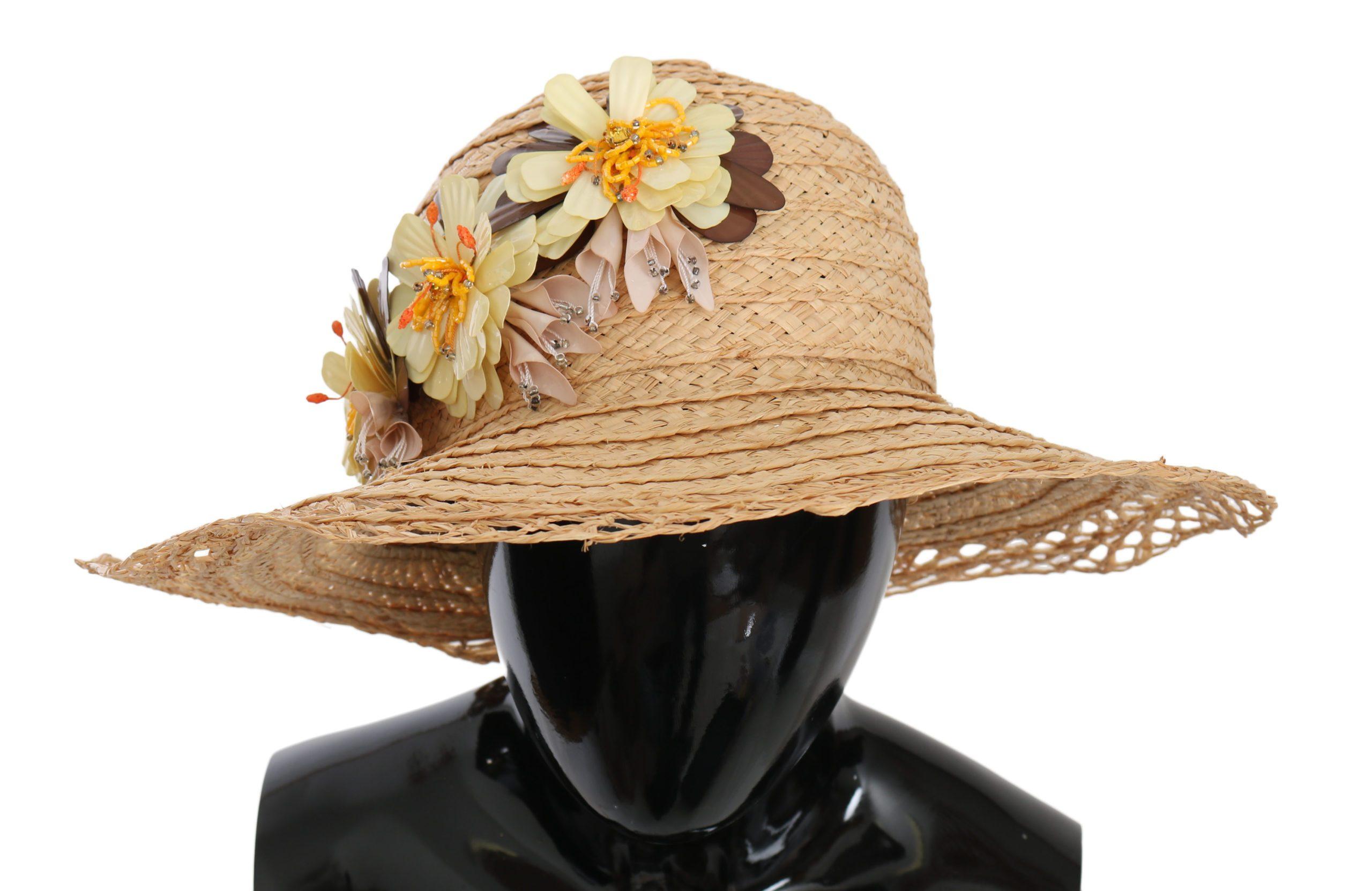 Dolce & Gabbana Women's Wide Brim Floral Capello Hat Beige HAT70225 - 56 cm XS