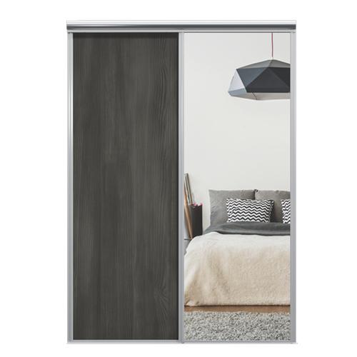 Mix Skyvedør Black wood / Sølvspeil 1850 mm 2 dører