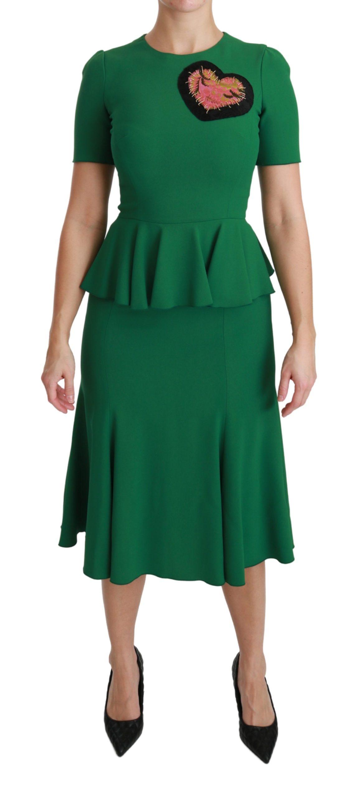 Dolce & Gabbana Women's Heart Patch Mermaid Midi Dress Green DR2511 - IT38   S