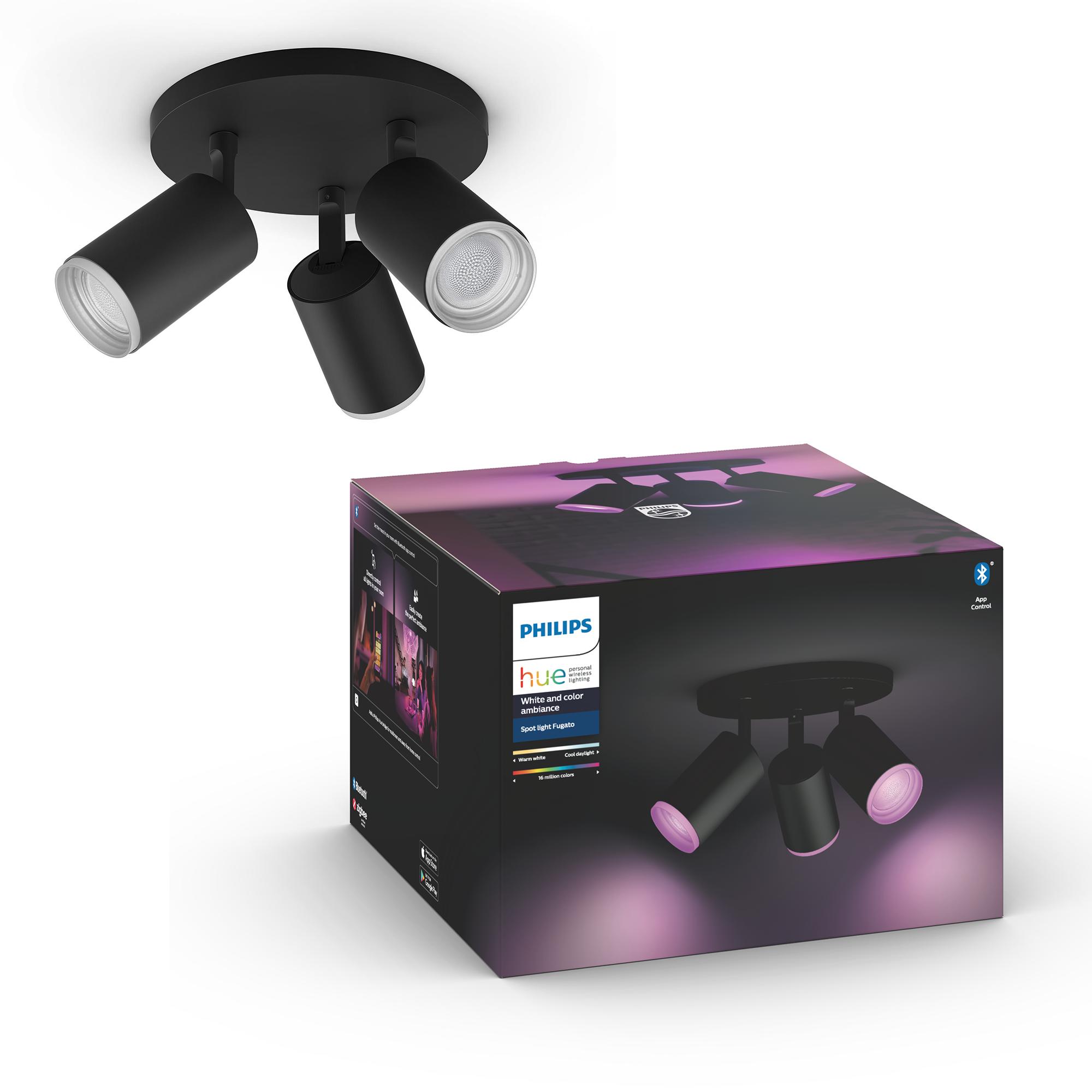Philips Hue - Fugato 3-Spot Black - White & Color Ambiance - Bluetooth