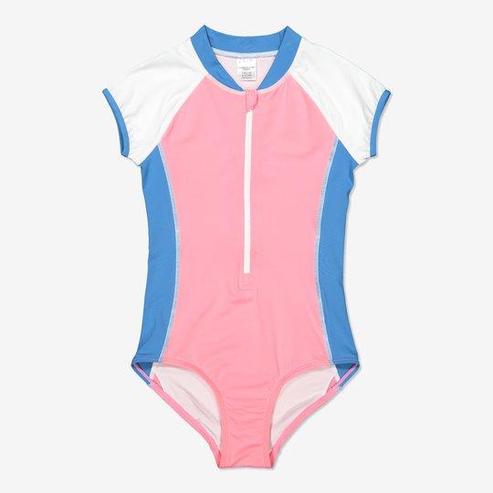 Badedrakt med korte ermer rosa