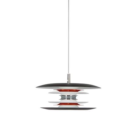Diablo Pendel Mattsvart/ Blankröd LED 30 cm