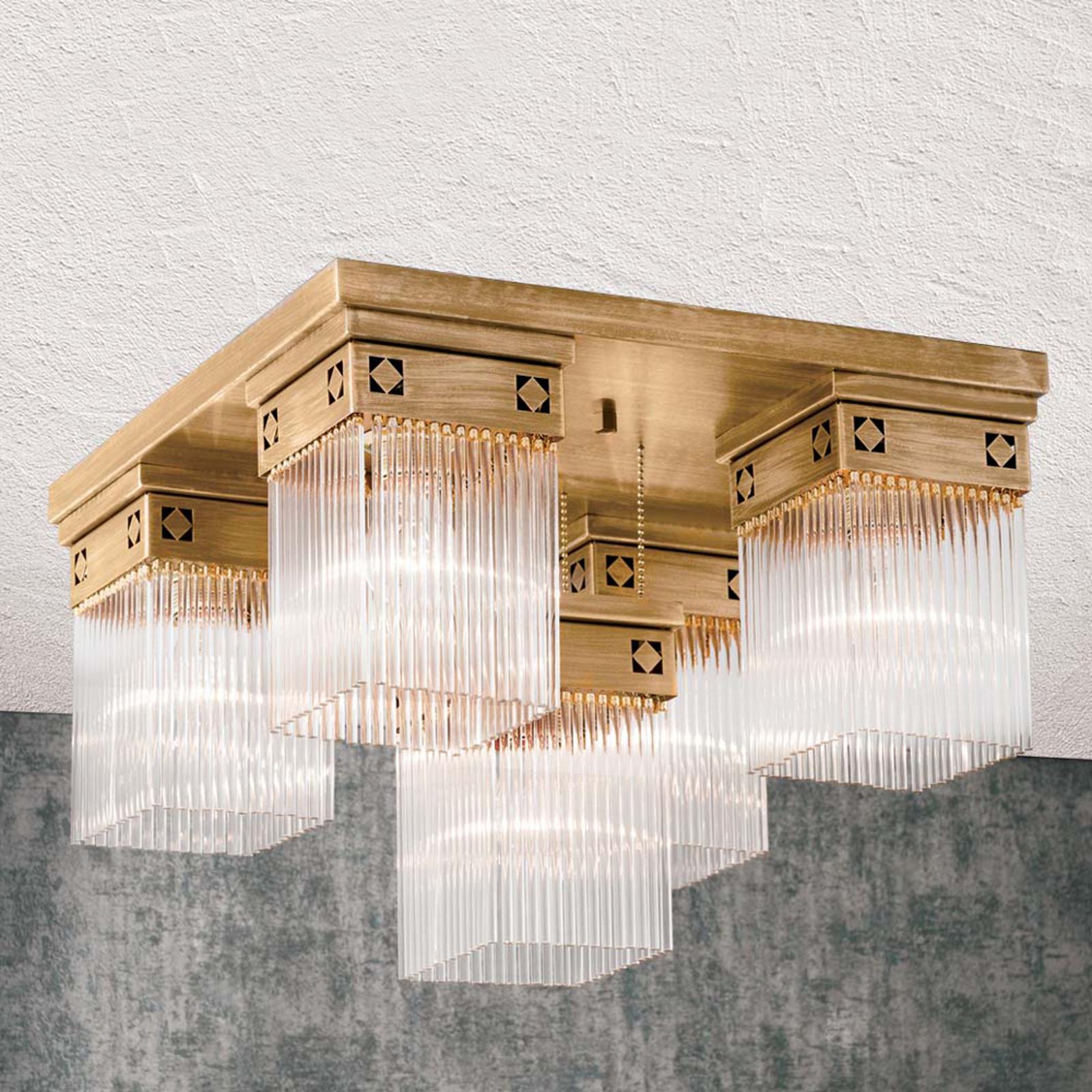 Viiden lampun Frieda-kattovalaisin täysmessingistä