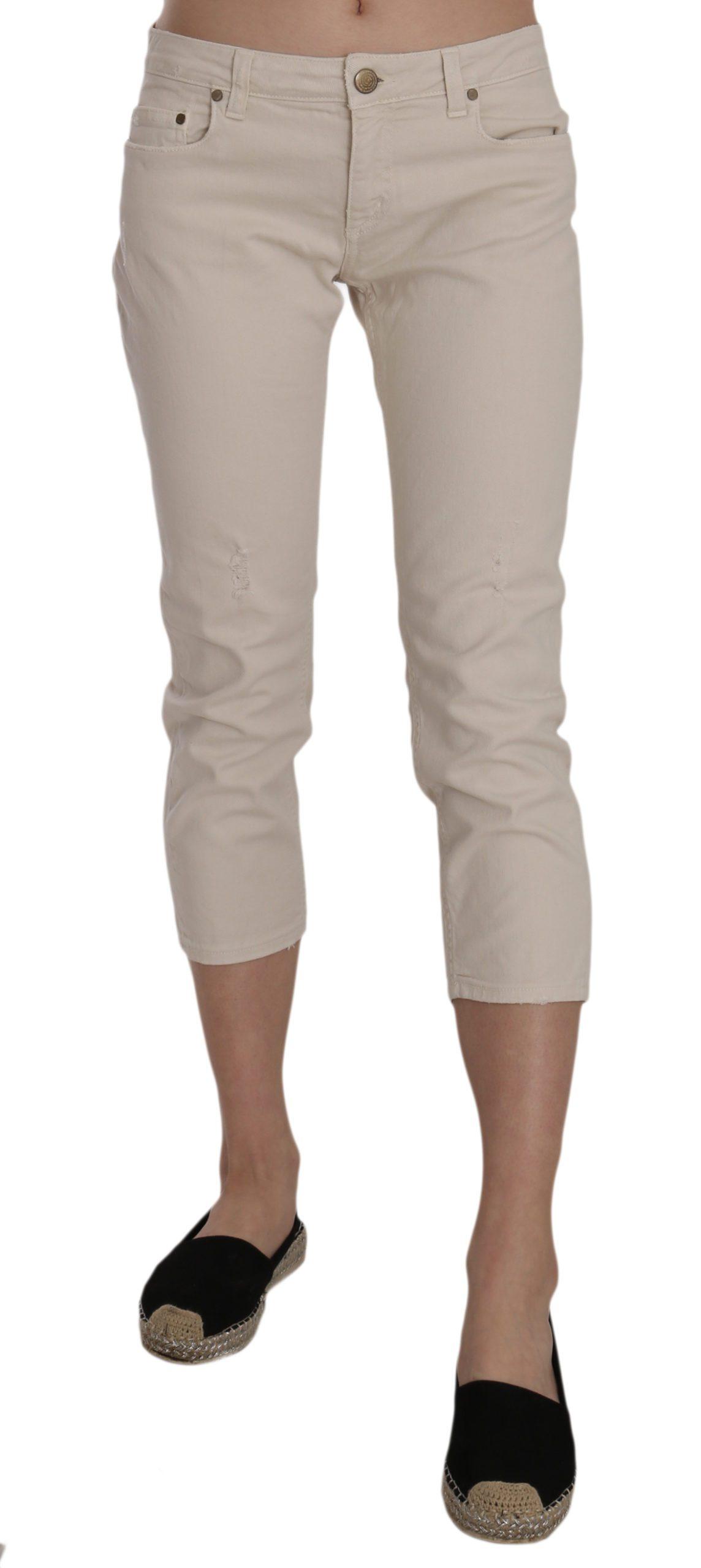 Dondup Women's Cotton Stretch Low Waist Skinny Trouser Beige PAN70211 - W29
