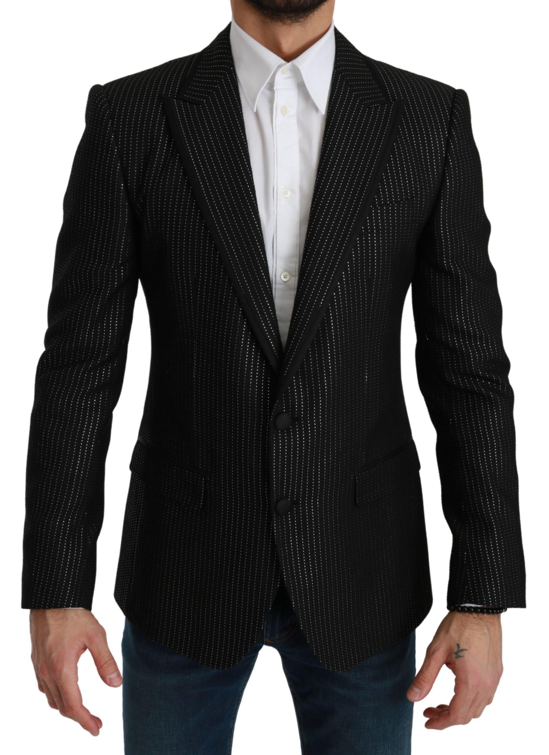 Dolce & Gabbana Men's Striped Single Breasted MARTINI Blazer Black KOS1738 - IT48 | M