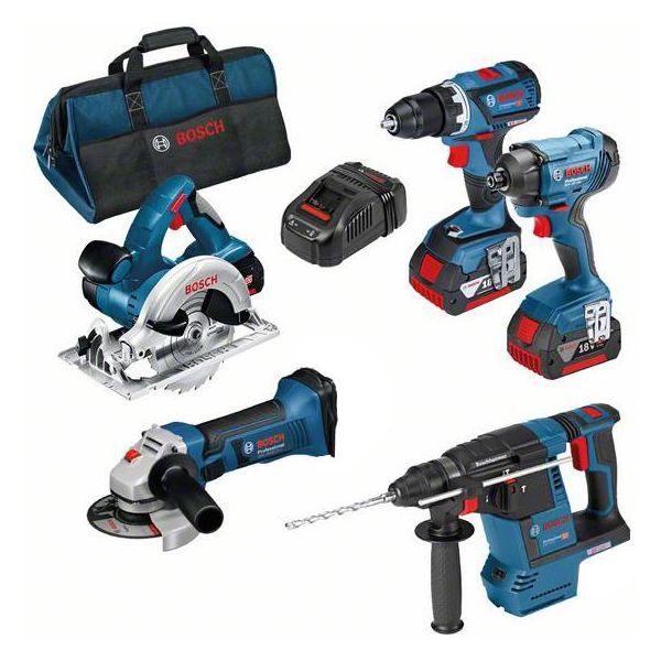 Bosch 0615990K9J Verktøypakke med veske, 5,0 Ah batterier og lader