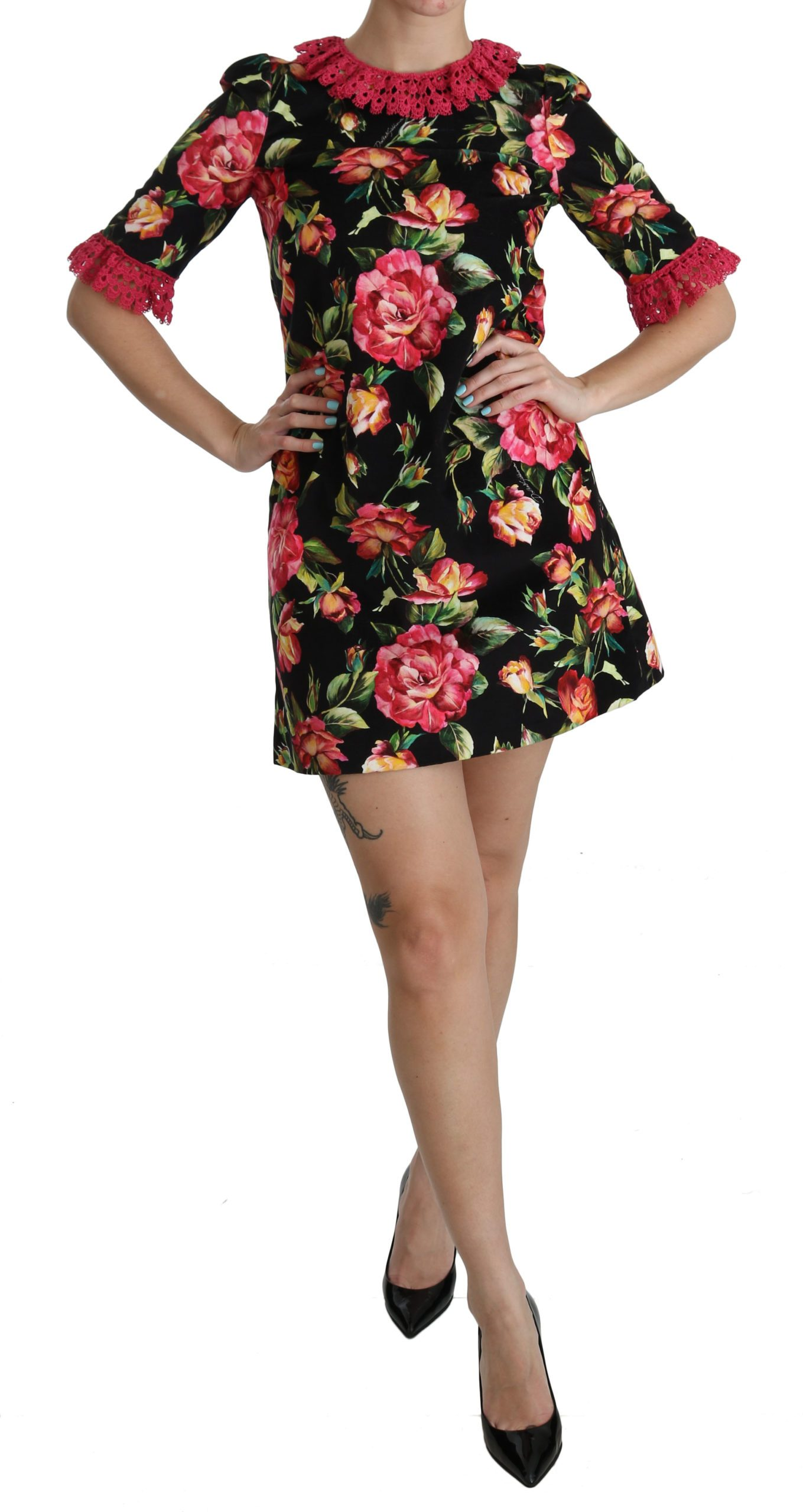 Dolce & Gabbana Women's Lace A-Line Shift Mini Dress Black DR2085 - IT38|XS