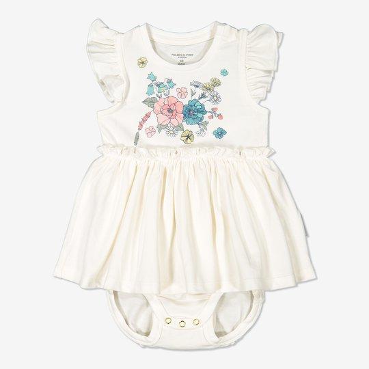 Kjole med body baby hvit