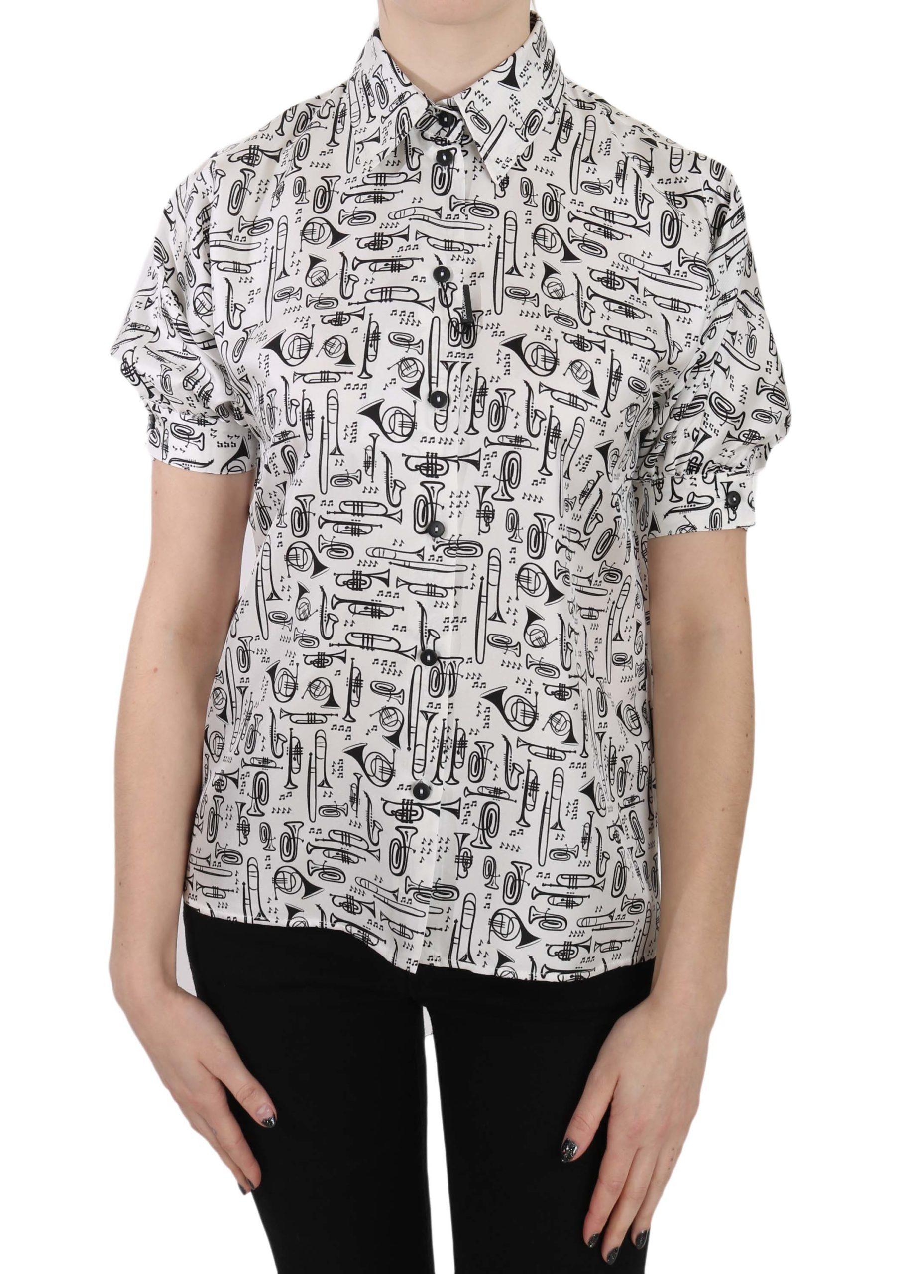 Dolce & Gabbana Women's Trumpet Print Button Shirt White TSH3227 - IT36|XXS