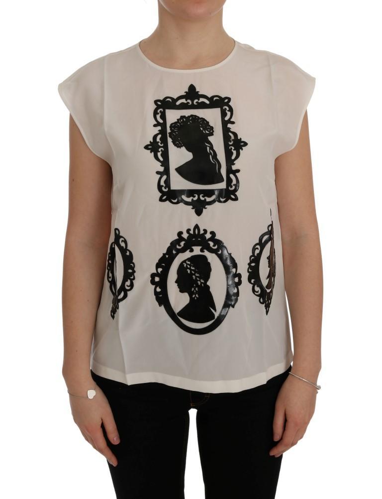 Dolce & Gabbana Women's Silk Frame Top White SIG50498 - IT40|S