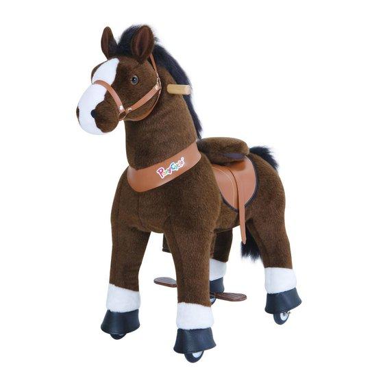 PonyCycle Ride-On Hest Stor, Mørkebrun/Hvit